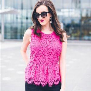 Jcrew lace pink peplum